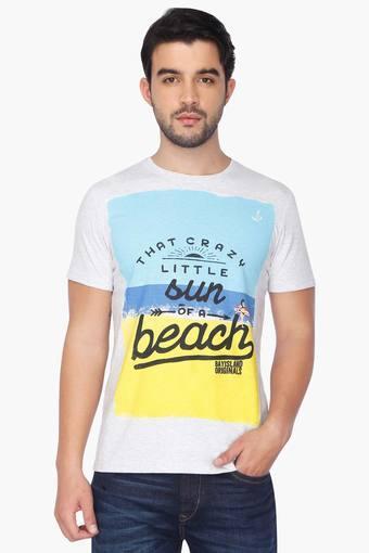 Mens Slim Fit Short Sleeves Round Neck Printed T-shirt