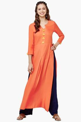 GLOBAL DESI Womens Side Slit Kurta