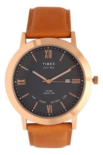 Mens Black Dial Leather Analogue Watch - TWEG17803