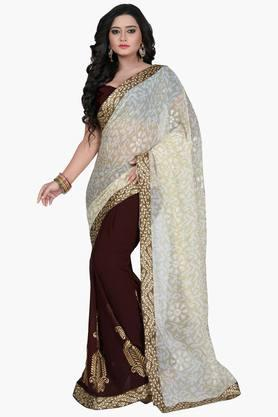 Women Chiffon Half & Half Floral With Lace Embroidered Saree