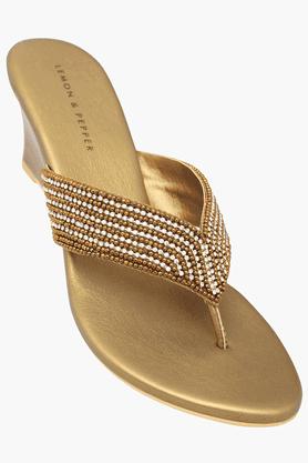 LEMON & PEPPERWomens Party Wear Slipon Wedge Sandal