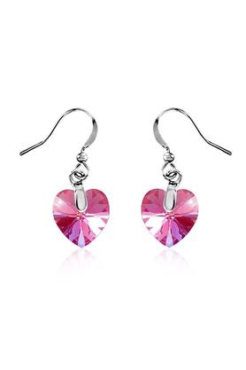 MAHIMahi Rhodium Plated Tiny Pink Heart Swarovski Element Love For My Valentine Earring ER1194208RPin