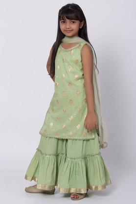 BIBA GIRLS - Green Salwar Kurta Set - 2