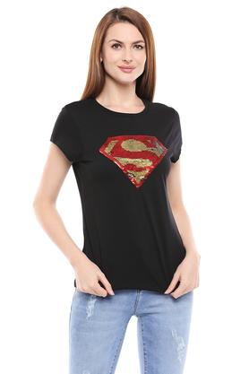 Womens Round Neck Sequined T-Shirt