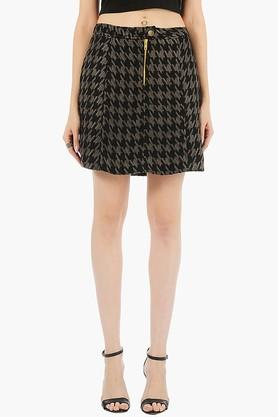 FABALLEY Womens Houndstooth Short Skirt