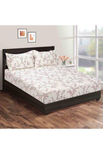 SWAYAM -  CreamDouble Bed Sheets - Main