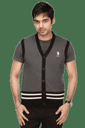 U.S. POLO ASSN.Mens Sleeveless V Neck Slim Fit Stripe Sweater - 9907680