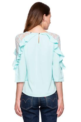 Womens V Neck Solid Lace Top