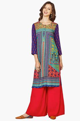 GLOBAL DESI Womens Round Neck Printed Kurta - 201771847