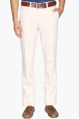 ALLEN SOLLY Mens Regular Fit 4 Pocket Solid Trousers