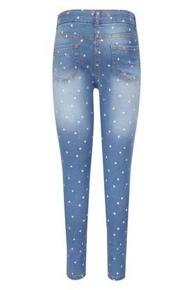 Girls 5 Pocket Printed Jeans