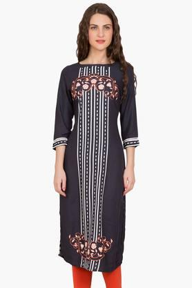 DESI BELLE Womens Printed Boat Neck Kurta