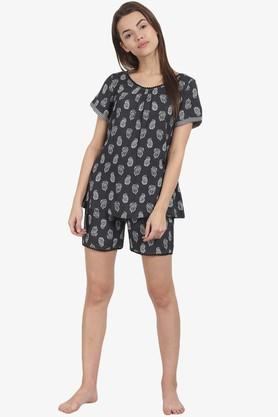 Womens Round Neck Printed Top and Shorts Set