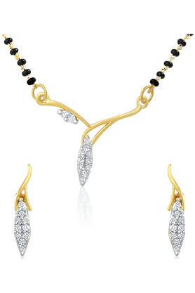 MAHI Gold Plated Mangalsutra Pendant Set With CZ For Women NL1101405G
