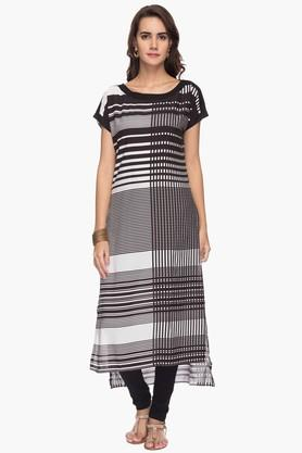 STOP Womens Boat Neck Stripe Dipped Hem Kurta