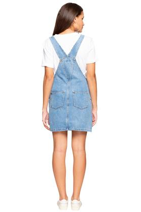 Womens Square Neck Washed Dungaree Dress