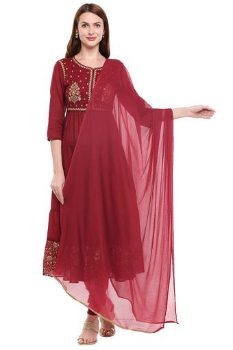 STOP -  MaroonSalwar & Churidar Suits - Main