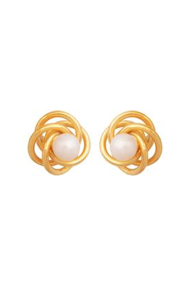 Womens Yellow Gold With White Pearl Stud Earrings GERD16032425