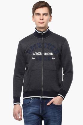 T-BASEMens Zip Through Neck Printed Sweatshirt