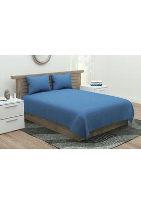 Slub Spectrum Double Bed Sheet with 2 Pillow Covers