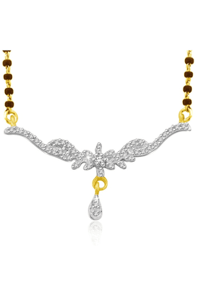 SPARKLES 18Kt Gold Mangalsutra With Diamond Pendant Along With Gold Plated Silver Chain And Black - 7499781