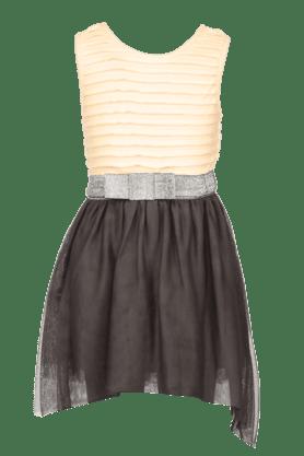 Girls Cotton Colour Block Sleeveless Dress