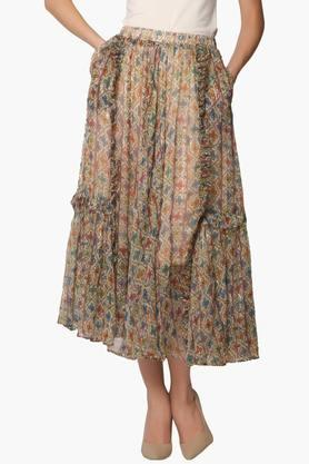 LABEL RITU KUMAR Womens Flared Double Pocket Printed Long Skirt