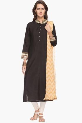 RS BY ROCKY STAR Womens Mandarin Neck Churidar Kurta Dupatta Set