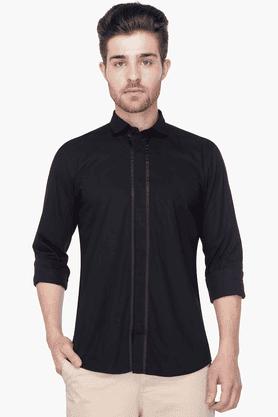 Mens Full Sleeves Slim Fit Casual Solid Shirt