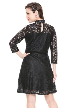 Womens High Neck Lace Skater Dress