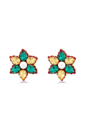 JAZZ Unique Fancy Flower Design Gold Plated Green And Yellow Stone Earring For Wedding