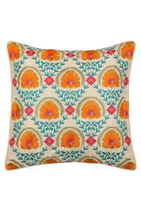Square Floral Embroidered Cushion Cover