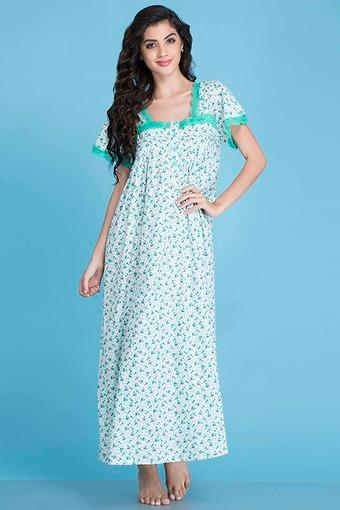 Womens Square Neck Printed Night Gown