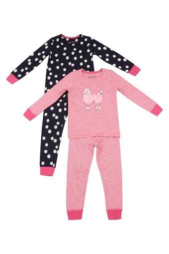 Girls Round Neck Polka Dot and Applique Top and Pants Set - Pack of 2