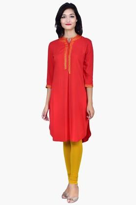 JUNIPER Women Kurta With Mandarin Collar