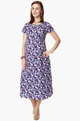 NINE MATERNITY Maternity Nursing Dress In Floral Print