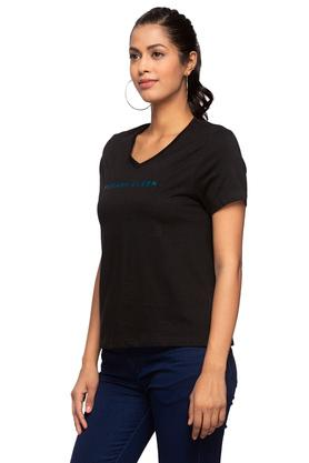 Womens V Neck Solid T-Shirt
