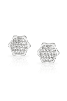 MAHI Mahi Rhodium Plated Hexagonal Geometric Earrings With CZ For Women ER1190153R