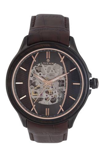 Mens Brown Dial Leather Analogue Watch