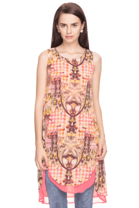 BIBA Womens Printed Sleeveless Kurta