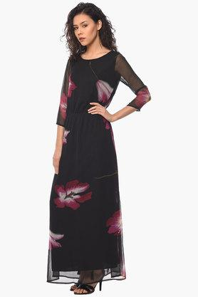 Womens Round Neck Printed Maxi Dress