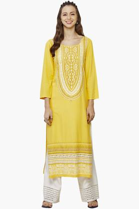 GLOBAL DESI Womens Round Neck Printed Kurta - 201771852