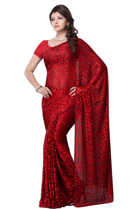 DEMARCA De Marca Red Brasso Designer DF-455D Saree