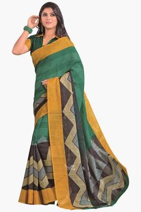 DEMARCA Womens Stripe Gold Woven Cotton Saree