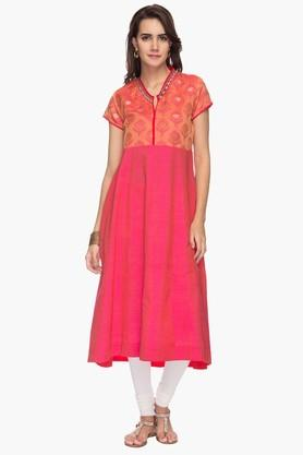 STOP Womens Mandarin Neck Printed Embroidered Kurta