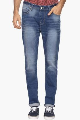 BEING HUMANMens 5 Pocket Slim Fit Heavy Wash Jeans