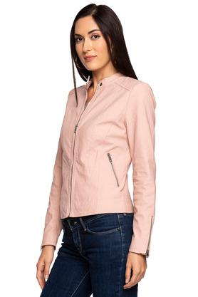 Womens Band Collar Solid Bikers Jacket