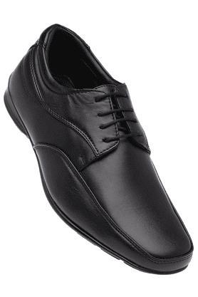 FRANCO LEONEMens Black Leather Formal Lace Up Shoes