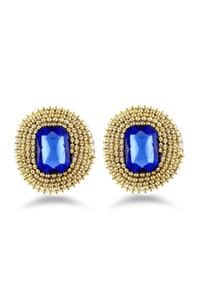JAZZ Daily Wear Fashion Stud Earring Of Brass With Blue Stone For Women