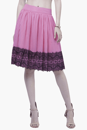 FABALLEY Womens Lace-accented Midi Skirt